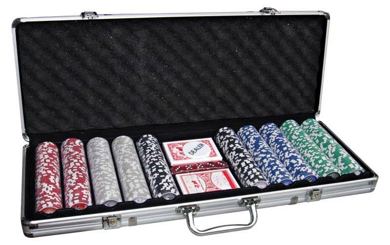 Βαλίτσα Αλουμινίου με 500x11,5gr + 2 Τράπουλες τάβλι  σκάκι  είδη πόκερ   μάρκες   σετ